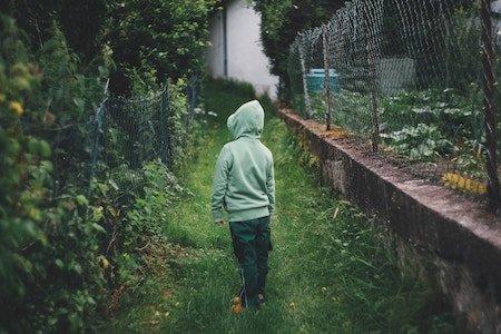 Back of child wearing hoodie looking at lush garden